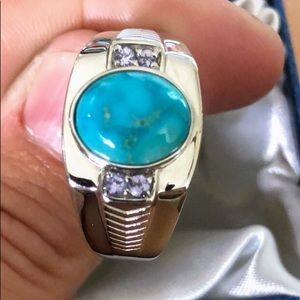 South Hill Turquoise platinum unisex ring size 14